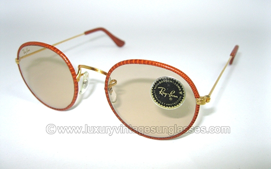 4aa4c47bc8 Ray Ban Leathers Round by B L   Vintage Sunglasses made in U.S.A. in the   80s.