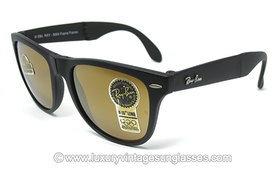 classic 1980s ray ban wayfarer  ray ban wayfarer ii folding diamond hard b&l: vintage sunglasses made in france '80s.