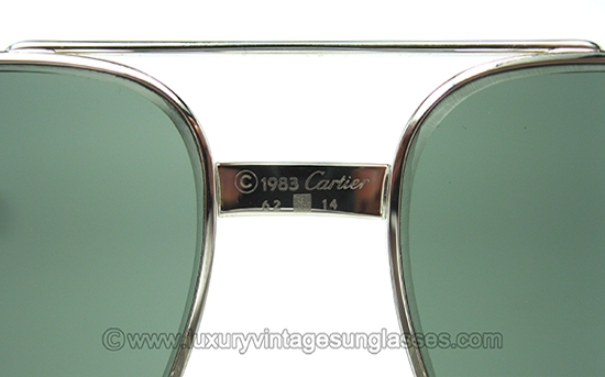 8731020f24799 Cartier Vendome Louis Platine 62-14  Vintage Sunglasses made in France  80s.