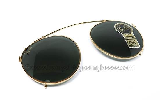 16768ce460 Ray Ban Round 50 mm CLIP ON G-15 B L  original vintage sunglasses from  80s  made in U.S.A.